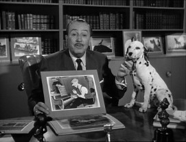 "Walt Disney talks 101 Dalmatians with a dalmatian on his desk in ""Walt Disney Presents: The Best Doggoned Dog in the World."""