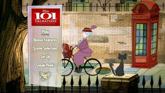 Dogs and their pets pass by on the 101 Dalmatians: Diamond Edition Blu-ray and DVD main menu.
