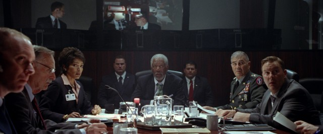 U.S. officials including Director of the Secret Service Lynn Jacobs (Angela Bassett), Acting President Allan Trumbull (Morgan Freeman), General Edward Clegg (Robert Forster), and Ray Monroe (Sean O'Bryan) respond to the tense situation at hand.
