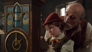Geppetto (Tony Amendola) gets his wish as his wooden son Pinocchio (Jakob Davies) becomes a real boy.