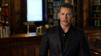 "In a library (or a library set), Josh Dallas hosts ""Once Upon a Time: Origins"", a featurette detailing five fairy tales' histories."
