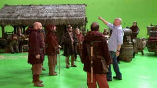 "Dwarfs get directed on a green screen set in ""Fairy Tales in the Modern World."""