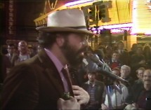 Francis Ford Coppola does not like a reporter's questions at his February 1981 press conference from his Las Vegas set.