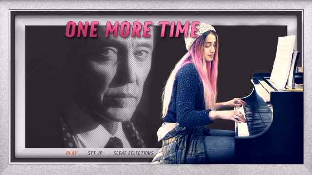 "A large Christopher Walken watches pink-haired Amber Heard play piano on the simple ""One More Time"" DVD main menu."