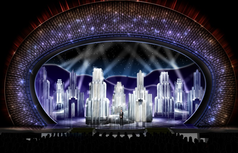 Concept sketch for the 89th Academy Awards by Derek McLane places host Jimmy Kimmel on a stage decorated with crystals from Swarovski.