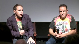 "Director Marius A. Markevicius and producer Jon Weinbach answer questions at a Los Angeles screening of ""The Other Dream Team."""