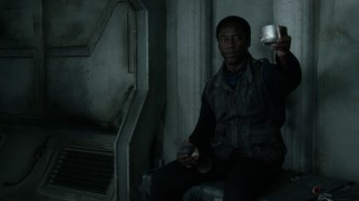Chancellor Thelonious Jaha (Isaiah Washington) makes a toast in the season finale.