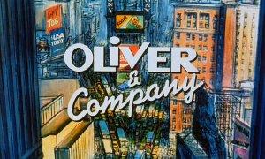 "The title logo for ""Oliver & Company"" appears over gridlocked traffic at New York City's commercially robust Times Square."