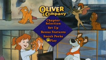 Four panels take turns coming alive on the Oliver & Company: Special Edition DVD main menu.
