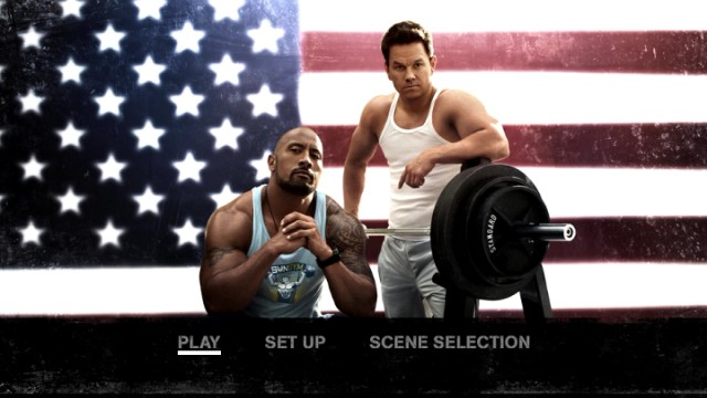 "The patriotic DVD and Blu-ray menus for ""Pain & Gain"" lack a bonus features listing because there aren't any on either format."