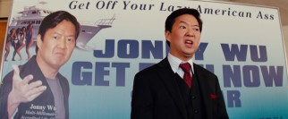 "Self-made multi-millionaire Jonny Wu (Ken Jeong) encourages those attending his seminar (including Daniel) to be ""doers."""