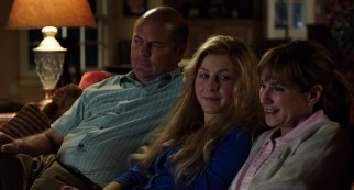 A bald Nick Offerman and Holly Hunter play the protective parents of home-schooled Lamb (Julianne Hough).