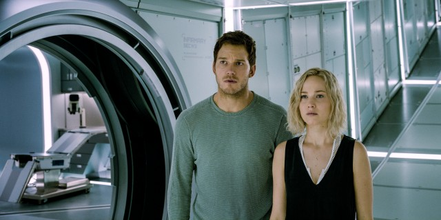 """Passengers"" stars Chris Pratt and Jennifer Lawrence as the only people awake aboard a starship of the future."