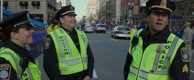 "Fictional composite Boston police sergeant Tommy Saunders (Mark Wahlberg) is assigned to patrol the finish line of the Boston Marathon in ""Patriots Day."""