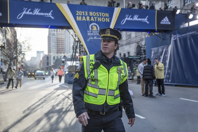 "Mark Wahlberg plays fictional composite police sergeant Tommy Saunders, who patrols the Boston Marathon in ""Patriots Day."""