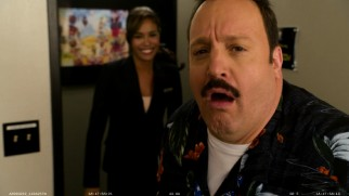Kevin James hams it up for the camera to the amusement of co-star Daniella Alonso in the gag reel.