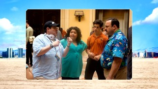 Kevin James, Raini Rodriguez, and Justin Henrie take direction from Andy Fickman in this photo gallery still.