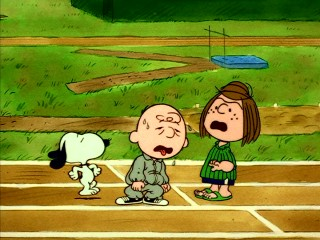 "Training for a decathlon with Snoopy and Peppermint Patty, Charlie Brown tires quickly in ""You're the Greatest, Charlie Brown."""