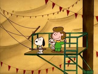 "Snoopy becomes a trapeze artist and general performer in ""Life is a Circus, Charlie Brown."""