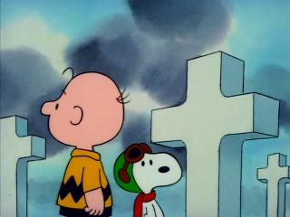 "Charlie Brown and Snoopy get serious at Omaha Beach in ""What Have We Learned, Charlie Brown?"""