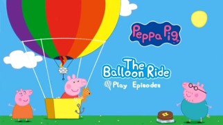 Peppa Pig takes a balloon ride all by herself on the DVD's animated main menu.