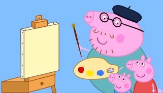 Daddy Pig breaks out his beret to paint like his children.