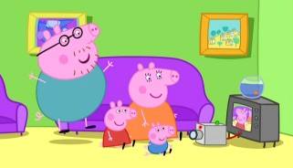 The Pig family is thoroughly entertained by the home movies they just shot.
