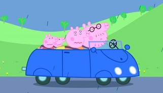 The Pigs ride a new blue car while their regular one is repaired.