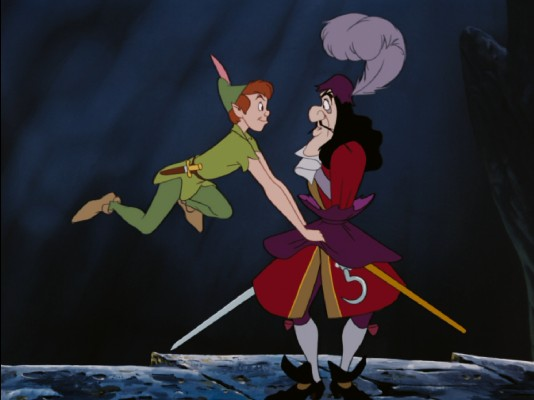 The lines of Good and Evil are clearly drawn when Captain Hook and Peter Pan do battle.