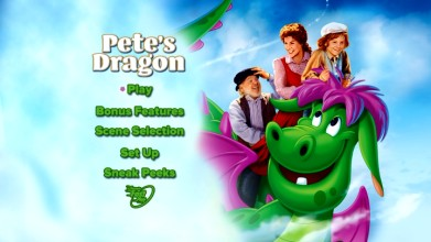 The static new menu featured on Pete's Dragon Blu-ray and DVD is a downgrade from the High Flying Edition DVD's animated screen.