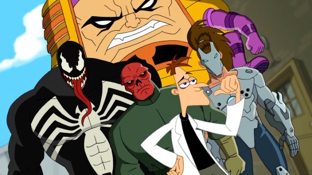 "Dr. Doofenshmirtz relishes the company of evildoers Venom, M.O.D.O.K., Red Skull, and Whiplash in ""Phineas and Ferb: Mission Marvel."""