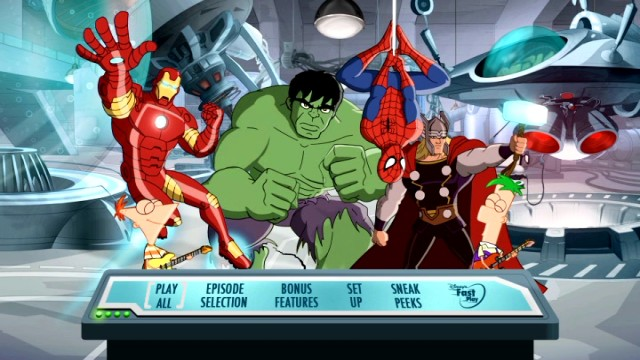 Phineas, Ferb, and their superhero pals rock out on the Mission Marvel DVD's animated main menu.