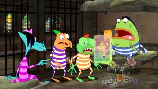 "Phineas, Ferb, and their friends switch places with alien inmates in ""Mind Share."""