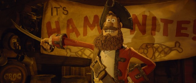 "In #38, ""The Pirates! Band of Misfits"", The Pirate Captain (voiced by Hugh Grant) reveals the best thing about being a pirate: Ham Nite!"