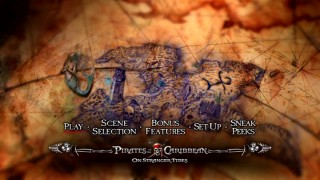 "The ""On Stranger Tides"" DVD main menu offers a rotating Fountain of Youth map, showing more creativity than a standard clip montage."