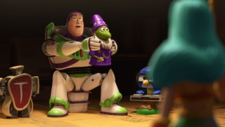 "Buzz Lightyear gets stuck in a support group for abandoned kids' meal toys in the Toy Story Toon ""Small Fry."""