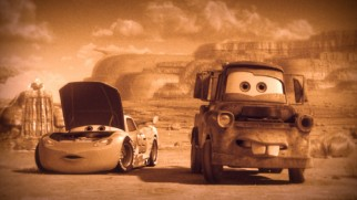 "Lightning McQueen and Mater journey back to a time of sepia tones in ""Time Travel Mater."""