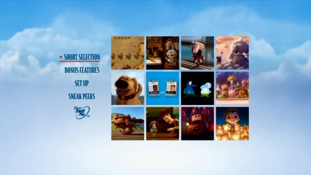 Each of the twelve featured shorts of Pixar Short Films Collection, Volume 2 gets a square that turns from still to clip on the DVD's main menu.