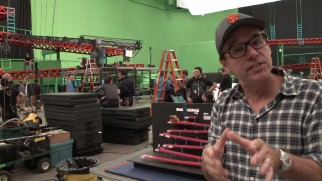 Director Christopher Columbus takes us behind the scenes of the large green screen Donkey Kong set.