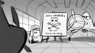 This deleted scene shows Dusty's training in animatic form.