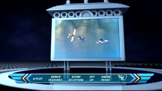 The Planes DVD and Blu-ray's main menus are presented like Racing Sports Network graphics.