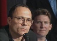 Author-screenwriter Michael Tolkin is among those on hand who is actually asked questions at the Cannes '92 press conference.