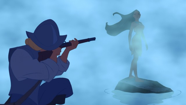 In his first sighting of Pocahontas, John Smith aims his rifle at the unknown female appearing in the mist before him.