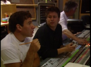 "Lyricist Stephen Schwartz and composer Alan Menken oversee a Judy Kuhn recording session in ""The Music of 'Pocahontas.'"""
