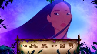 Pocahontas appears on her new DVD's main menu.