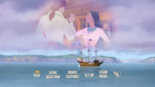 John Rolfe and Pocahontas practice a dance while their CGI ship crawls by on the new Pocahontas II DVD's main menu.