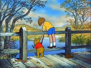 Winnie the Pooh and Christopher Robin bid farewell to a carefree summer, but not their enduring friendship, in this touching final scene.