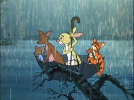 Roo, Kanga, Rabbit, and Tigger sail in an umbrella to find Pooh and Piglet on the blustery-turned-stormy day.