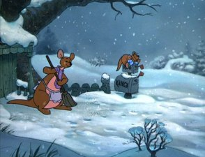 Kanga sweeps while Roo enjoys the winter snow in the final third of the movie.
