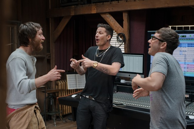 The Style Boyz (Akiva Schaffer, Andy Samberg, and Jorma Taccone) reunite for a jam session in the studio at Lawrence's Colorado farm.